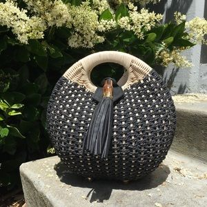 Rattan Black and White Round Clutch NWT